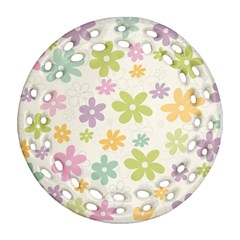 Beautiful spring flowers background Ornament (Round Filigree)