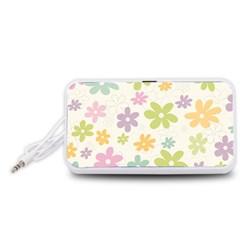 Beautiful spring flowers background Portable Speaker (White)