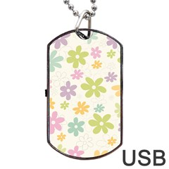 Beautiful spring flowers background Dog Tag USB Flash (Two Sides)