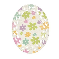 Beautiful spring flowers background Ornament (Oval Filigree)