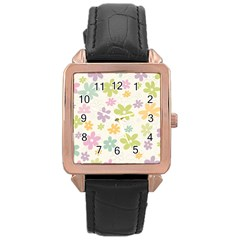 Beautiful spring flowers background Rose Gold Leather Watch