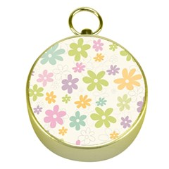 Beautiful spring flowers background Gold Compasses