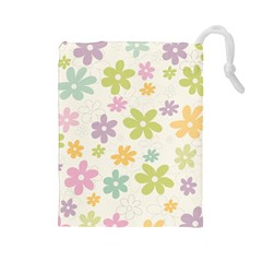 Beautiful spring flowers background Drawstring Pouches (Large)