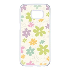 Beautiful spring flowers background Samsung Galaxy S7 edge White Seamless Case
