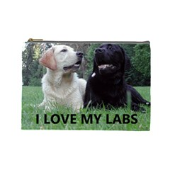 I Love My Labs W Pic Cosmetic Bag (Large)