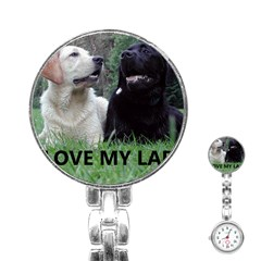 I Love My Labs W Pic Stainless Steel Nurses Watch