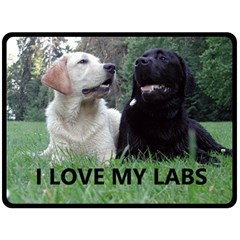 I Love My Labs W Pic Double Sided Fleece Blanket (Large)