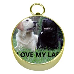 I Love My Labs W Pic Gold Compasses