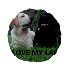 I Love My Labs W Pic Standard 15  Premium Flano Round Cushions