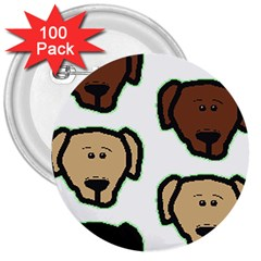 Lab 3 Colors Cartoon Head 3  Buttons (100 pack)