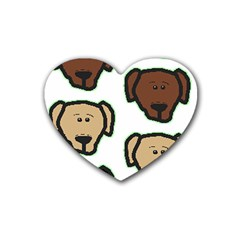 Lab 3 Colors Cartoon Head Rubber Coaster (Heart)