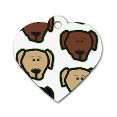 Lab 3 Colors Cartoon Head Dog Tag Heart (Two Sides)