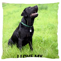 Lab Love W Pic Large Flano Cushion Case (Two Sides)