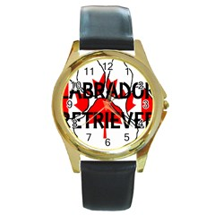 Lab Name Canadian Flag Paw Round Gold Metal Watch