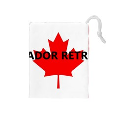 Lab Name Canadian Flag Drawstring Pouches (Medium)