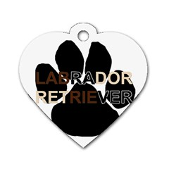 Lab Name Mega Paw Dog Tag Heart (One Side)