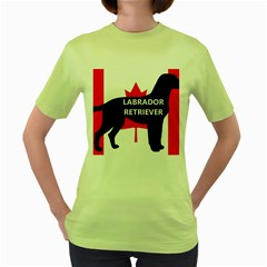 Labrador Retriever Name Silo Canadian Flag Women s Green T-Shirt