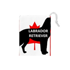 Labrador Retriever Name Silo Canadian Flag Drawstring Pouches (Small)