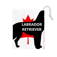 Labrador Retriever Name Silo Canadian Flag Drawstring Pouches (Large)