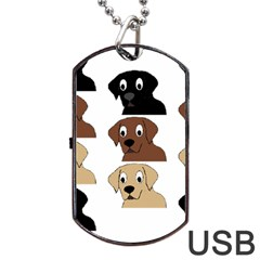 Labs 3 Colors Cartoon Head Dog Tag USB Flash (Two Sides)