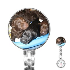 Litter Of Lab Pups Stainless Steel Nurses Watch