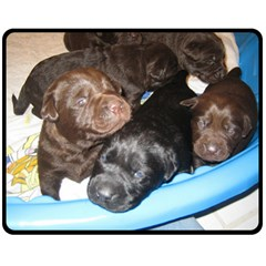 Litter Of Lab Pups Double Sided Fleece Blanket (Medium)