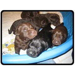 Litter Of Lab Pups Double Sided Fleece Blanket (Large)