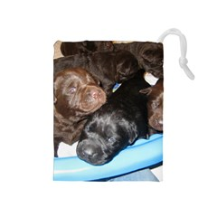 Litter Of Lab Pups Drawstring Pouches (Medium)