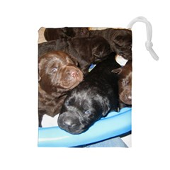 Litter Of Lab Pups Drawstring Pouches (Large)