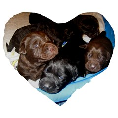Litter Of Lab Pups Large 19  Premium Flano Heart Shape Cushions