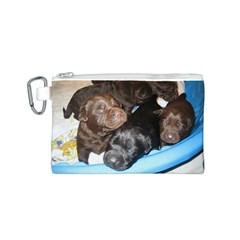 Litter Of Lab Pups Canvas Cosmetic Bag (S)