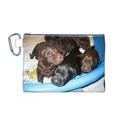 Litter Of Lab Pups Canvas Cosmetic Bag (M)