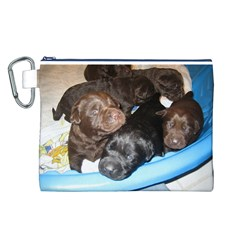 Litter Of Lab Pups Canvas Cosmetic Bag (L)
