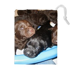 Litter Of Lab Pups Drawstring Pouches (Extra Large)