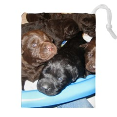 Litter Of Lab Pups Drawstring Pouches (XXL)