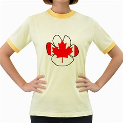 Mega Paw Canadian Flag Women s Fitted Ringer T-Shirts