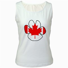 Mega Paw Canadian Flag Women s White Tank Top