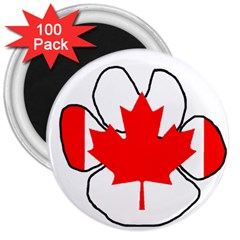 Mega Paw Canadian Flag 3  Magnets (100 pack)