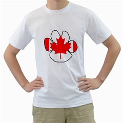 Mega Paw Canadian Flag Men s T-Shirt (White) (Two Sided)