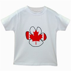Mega Paw Canadian Flag Kids White T-Shirts
