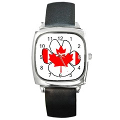 Mega Paw Canadian Flag Square Metal Watch