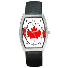 Mega Paw Canadian Flag Barrel Style Metal Watch