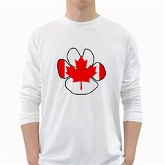 Mega Paw Canadian Flag White Long Sleeve T-Shirts
