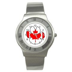 Mega Paw Canadian Flag Stainless Steel Watch
