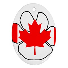 Mega Paw Canadian Flag Oval Ornament (Two Sides)