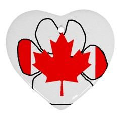 Mega Paw Canadian Flag Heart Ornament (Two Sides)