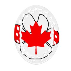 Mega Paw Canadian Flag Ornament (Oval Filigree)