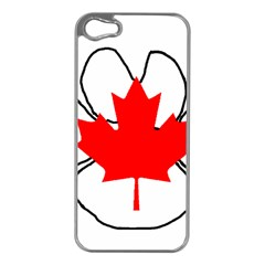 Mega Paw Canadian Flag Apple iPhone 5 Case (Silver)