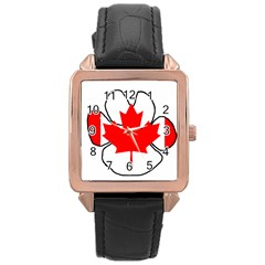 Mega Paw Canadian Flag Rose Gold Leather Watch