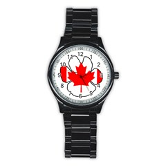Mega Paw Canadian Flag Stainless Steel Round Watch
